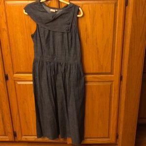 Denim dress with asymmetrical collar